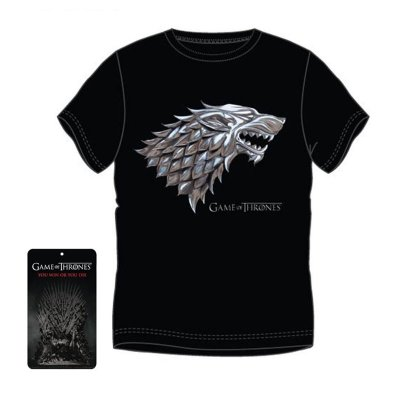 Camiseta adulto Juego de Tronos Casa Stark color negro