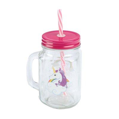 Jarra de vidrio con tapa y pajita forma de Unicornio