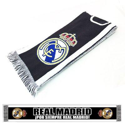 Bufanda negra blanca Real Madrid Por Siempre 150x18cm